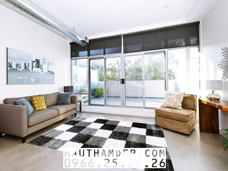 Thảm Sofa trang trí đẹp cho Phòng khách dạng lông xù, kiểu Caro đen - trắng
